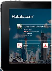 Die hotels.com iPad-App